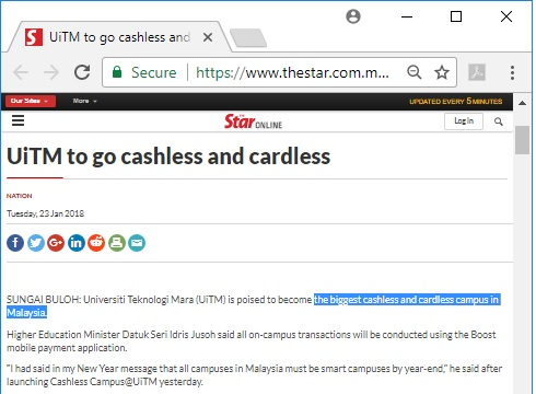 https://www.thestar.com.my/news/nation/2018/01/23/uitm-to-go-cashless-and-cardless-boost-mobile-payment-app-to-be-used-for-all-oncampus-transactions/